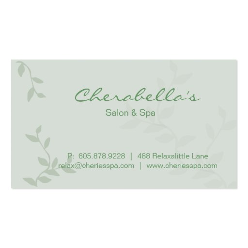 Green Leaves Salon & Spa Manicure Business Card