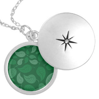 Green leaves silver plated necklace