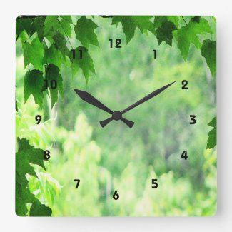 Green Leaves Square Wall Clock