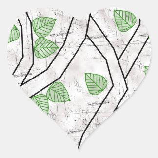 green leaves heart sticker