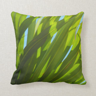 Green Leaves, Sunlight and Blue Sky Pillow