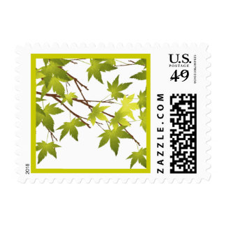 Green Leaves Tree Branch Postage Stamp