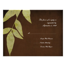 Green Leaves Vintage Wedding RSVP Personalized Announcement