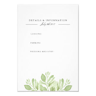 Green Leaves   Watercolor Information Card