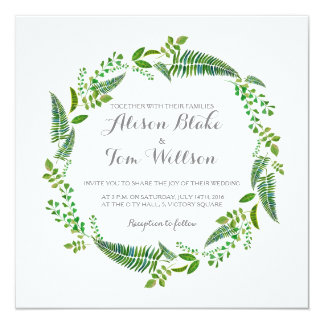 Green leaves watercolor wedding invitation