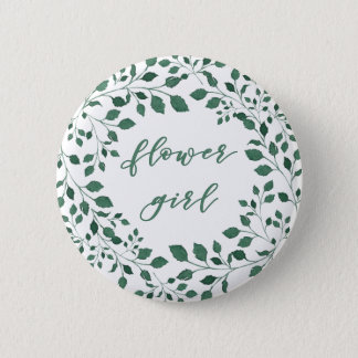 Green leaves watercolor wreath | Flower girl Button