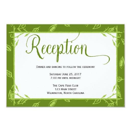 Green Leaves Wedding Reception Card