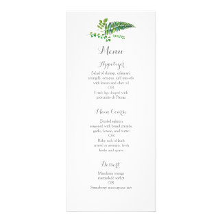 Green leaves wedding reception dinner menu