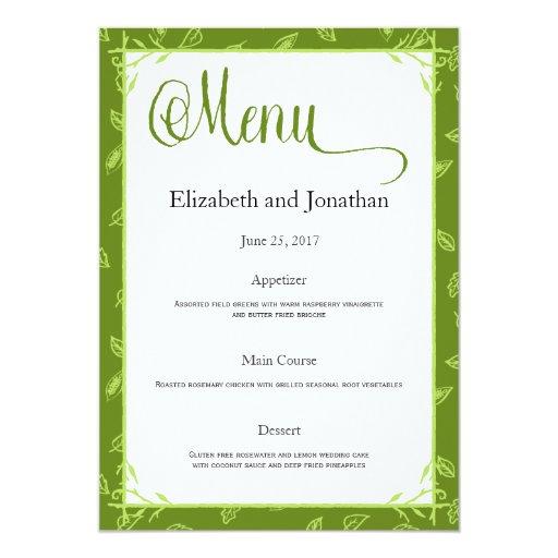 Green Leaves Wedding Reception Menu Card
