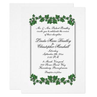 "Green Leaves White Wedding Invitation 6.5"" x 8.75"""