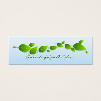 Green Leaves with Water Drops Skinny Mini Business Card