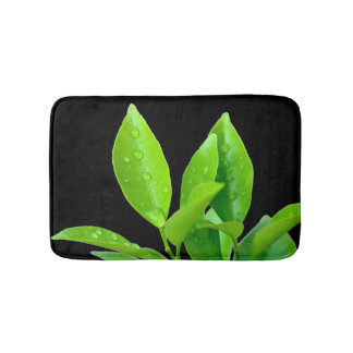 Green Leaves with Waterdrops on Black - Bath Mat