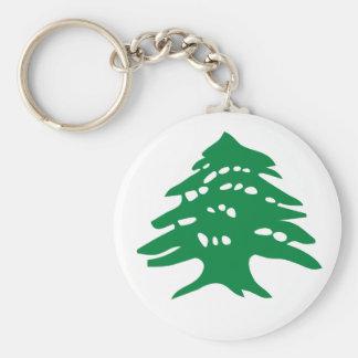 Green Lebanon Cedar Tree Basic Round Button Keychain