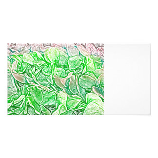 green lei sketch flowers neat abstract background customized photo card