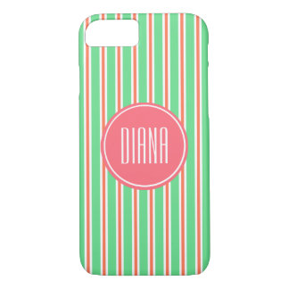 Green Lemon and Orange Stripes with Pink Monogram iPhone 7 Case