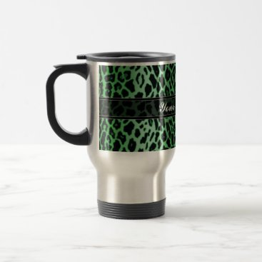 Coffee Themed Green Leopard Animal Print Custom Travel Mug