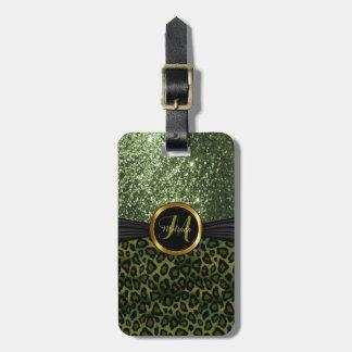 Green Leopard Animal Skin and Glitter - Monogram Bag Tag