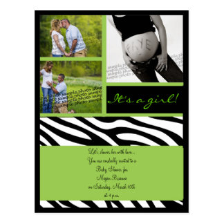 Green leopard Baby Shower Invite Postcard