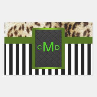 Green Leopard Black & White Stripes Monogram Seal Rectangular Sticker
