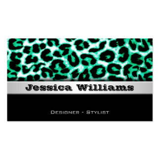 Green Leopard Modern Professional Business Cards