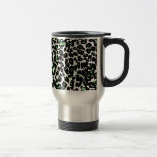 Green Leopard Pattern Travel Mug