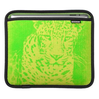 Green Leopard Portrait Vintage iPad sleeve