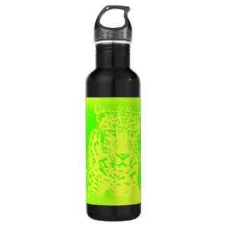 Green Leopard Portrait Vintage Water Bottle