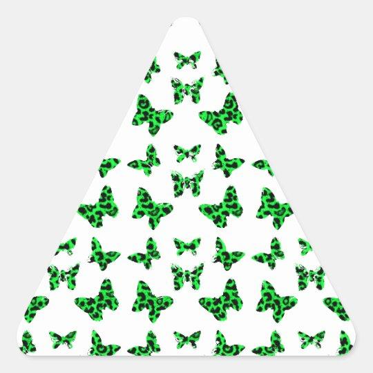 Green Leopard Print Butterfly Pattern Triangle Sticker