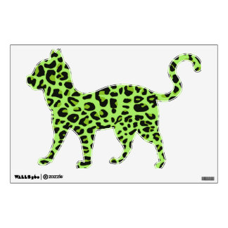 Green Leopard Print Kitty Wall Sticker