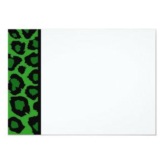 Green Leopard Print Panel Invitation