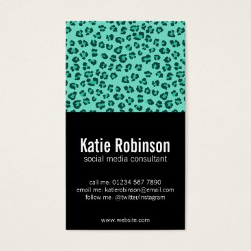 Professional Business Green leopard print pattern and black business card