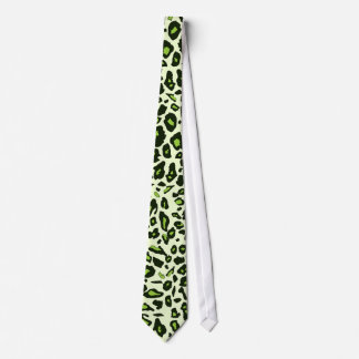 Green leopard print tie