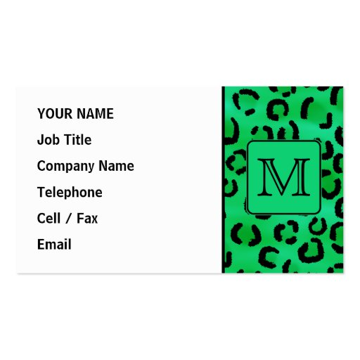 Green Leopard Print with Custom Monogram. Business Card Templates