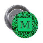 Green Leopard Print with Custom Monogram. Buttons