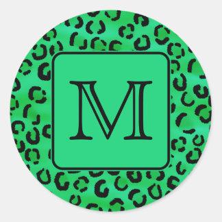 Green Leopard Print with Custom Monogram. Classic Round Sticker