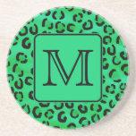 Green Leopard Print with Custom Monogram. Drink Coasters