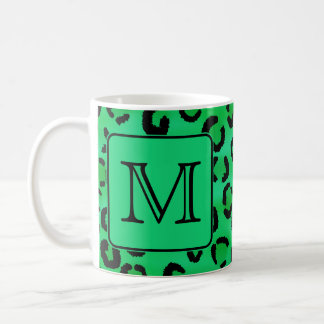 Green Leopard Print with Custom Monogram. Coffee Mug