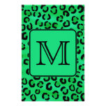 Green Leopard Print with Custom Monogram. Personalized Flyer