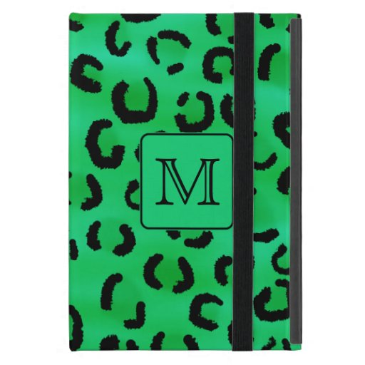 Green Leopard Print with Custom Monogram. Cases For iPad Mini