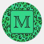 Green Leopard Print with Custom Monogram. Round Sticker