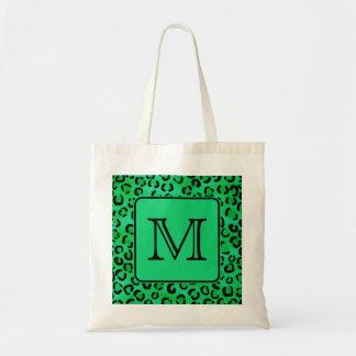 Green Leopard Print with Custom Monogram. Tote Bag