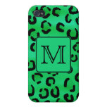 Green Leopard with Custom Monogram. iPhone 4/4S Case