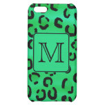 Green Leopard with Custom Monogram. Cover For iPhone 5C