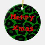 Green Leopard Xmas Ornament
