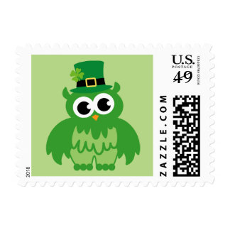 Green leprechaun owl stamps for St Patricks Day