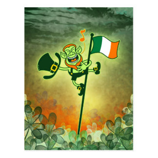 Green Leprechaun Singing on a Flag Pole Postcard