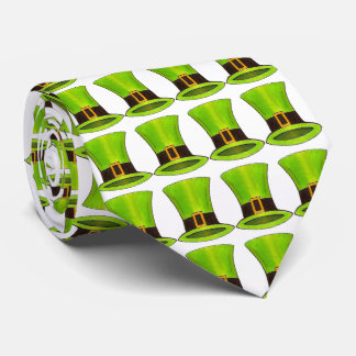 Green Leprechaun Top Hat Saint Patrick's Day Tie