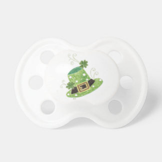 Green leprechaun's hat with polka dots pacifier