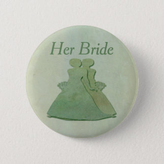 Green Lesbian Her Bride Badge - Mint Rustic Button