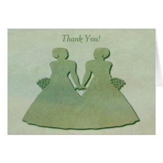 Green Lesbian Thank You Card - Mint Rustic